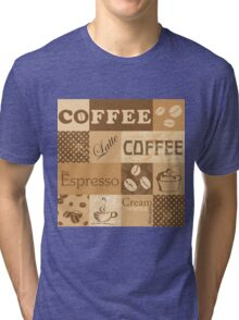 Coffee print for coffee addicted. Tri-blend T-Shirt