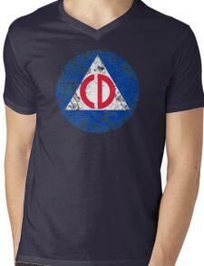 Civil Defense Emblem Mens V-Neck T-Shirt