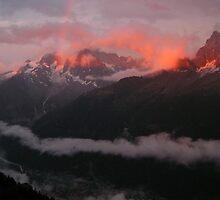 Tour du Mont Blanc - Night falls over Chamonix by Kat Simmons
