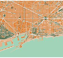 Barcelona city map mediterránea by PlanosUrbanos