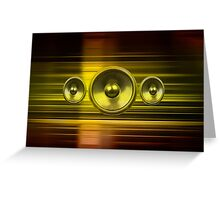 Music speakers with gold light streaks Greeting Card