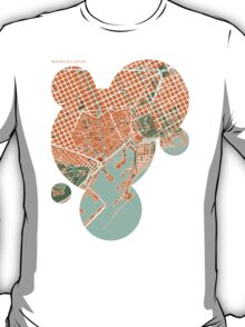 Barcelona city map mediterránea T-Shirt