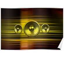 Music speakers with gold light streaks Poster
