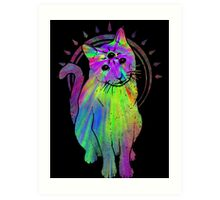 Psychic Psychedelic Cat Art Print