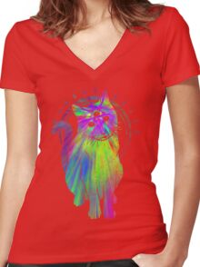 Psychic Psychedelic Cat Women's Fitted V-Neck T-Shirt