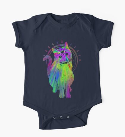 Psychic Psychedelic Cat One Piece - Short Sleeve