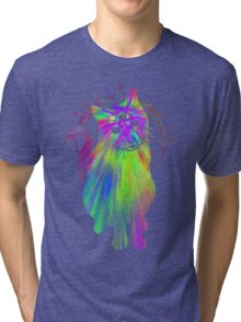 Psychic Psychedelic Cat Tri-blend T-Shirt