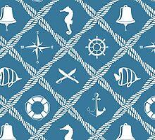 Nautical rope knot pattern with sea objects by Marta Jonina