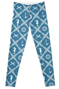 Nautical rope knot pattern with sea objects Leggings