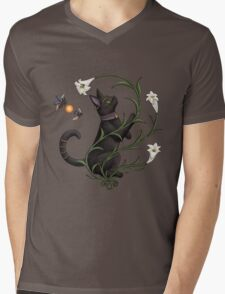 Bastet Among the Lilies Mens V-Neck T-Shirt
