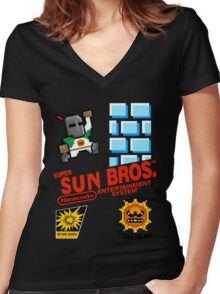 super sun bros. Women's Fitted V-Neck T-Shirt
