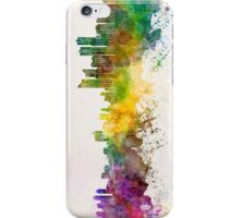 Busan skyline in watercolor background iPhone Case/Skin