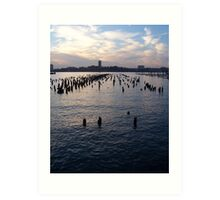 Hudson River at Dusk Art Print