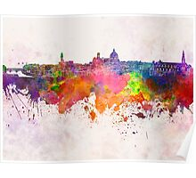 Florence skyline in watercolor background Poster