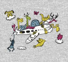 Cartoon Animals on a Airplane Kids Clothes