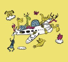 Cartoon Animals on a Airplane One Piece - Short Sleeve