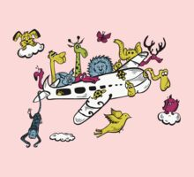 Cartoon Animals on a Airplane Kids Tee