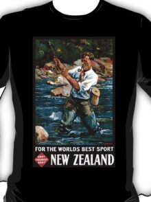 New Zealand Vintage Poster Restored T-Shirt