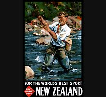 New Zealand Vintage Poster Restored Unisex T-Shirt