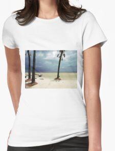 Stormy Beach Scene Womens Fitted T-Shirt