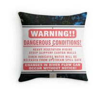 Hydroelectric Dam Warning Sign Throw Pillow