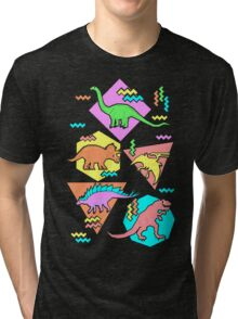 Nineties Dinosaurs Pattern Tri-blend T-Shirt