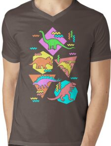 Nineties Dinosaurs Pattern Mens V-Neck T-Shirt