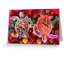 Turtles in a fruit salad Greeting Card