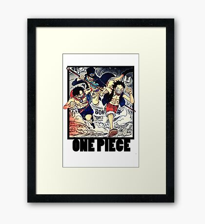 One Piece - Sabo, Ace and Rufy Framed Print