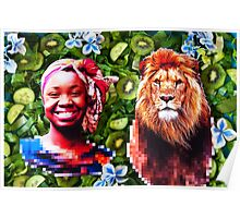 Woman and a lion in a green salad Poster
