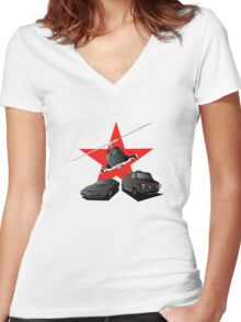 80's Heroes Women's Fitted V-Neck T-Shirt