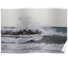 Fighting the waves,Levanto,Italy Poster