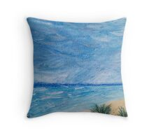 Sun, Sea, and Storm ~ Playa del Carmen in Pastels Throw Pillow