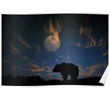 Bear and Moon  Poster