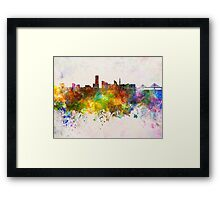Yokohama skyline in watercolor background Framed Print