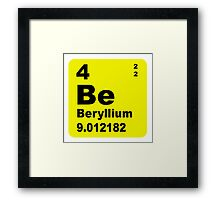 Beryllium Periodic Table of Elements Framed Print