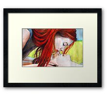 That Cute Kiss Framed Print