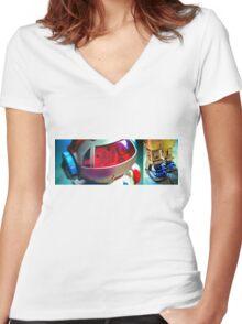 Retro Robot 2 Women's Fitted V-Neck T-Shirt