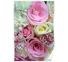 Pink and white rose bouquet Poster