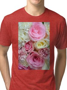 Pink and white rose bouquet Tri-blend T-Shirt