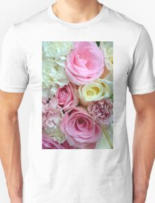 Pink and white rose bouquet Unisex T-Shirt