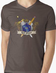 Roll Player Blue d20 Crest Mens V-Neck T-Shirt