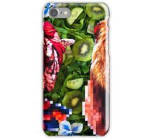 Woman and a lion in a green salad iPhone Case/Skin