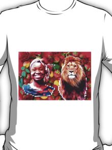 Woman and a lion in a fruit salad T-Shirt