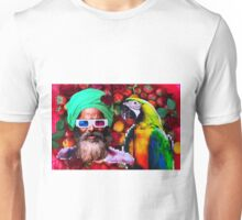 Man and a parrot in a fruit salad Unisex T-Shirt