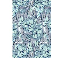 Teal Magnolias – a hand drawn pattern  Photographic Print