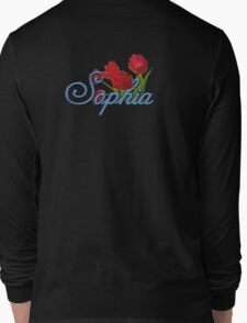 Sophia with Red Tulips and Cobalt blue Script Long Sleeve T-Shirt
