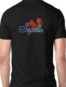 Sophia with Red Tulips and Cobalt blue Script Unisex T-Shirt