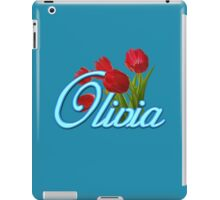 Olivia with Red Tulips and Neon blue Script iPad Case/Skin