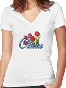 Olivia with Red Tulips and cobalt blue Script Women's Fitted V-Neck T-Shirt